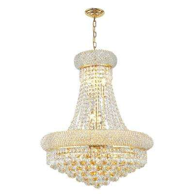 Empire 14-Light Polished Polished Gold Chandelier with Clear Crystal