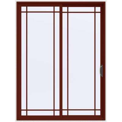 72 in. x 96 in. V-4500 Contemporary Red Painted Vinyl Right-Hand 9 Lite Sliding Patio Door w/White Interior
