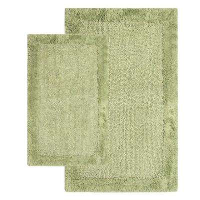 21 in. x 34 in. and 24 in. x 40 in. 2-Piece Bella Napoli Rug Set in Bottle Green