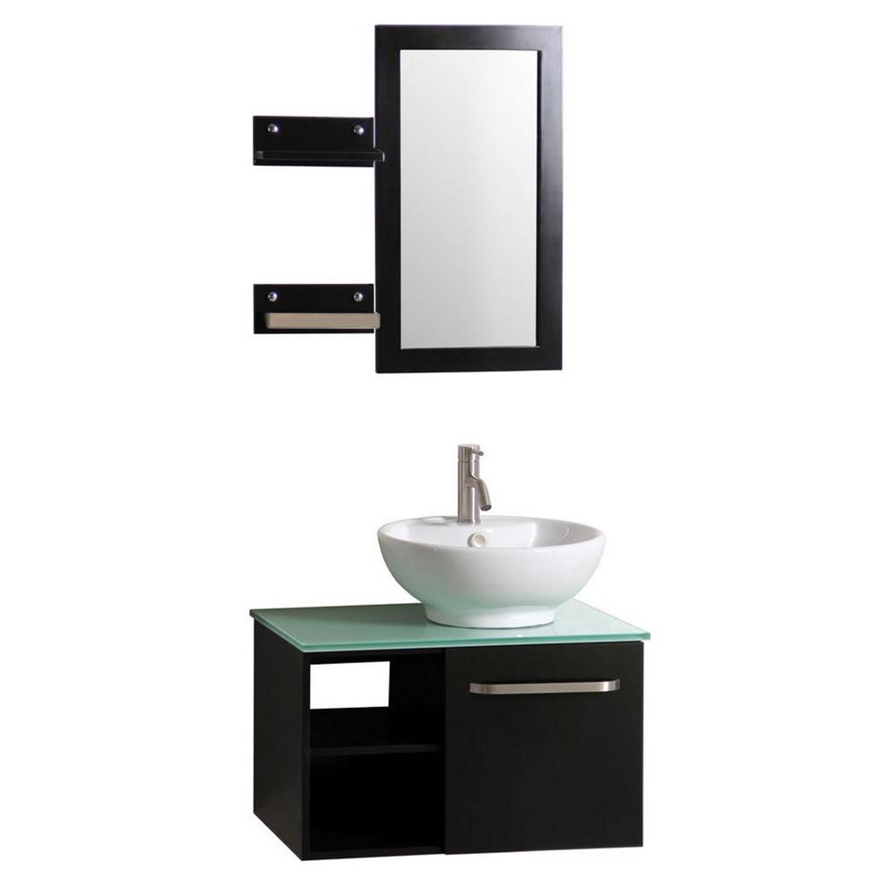 Sheffield Home Palma 27.5 in. W x 18.5 in. D Floating Vanity in Espresso w/ Frosted Glass Top and White Basin, Side Shelves and Mirror