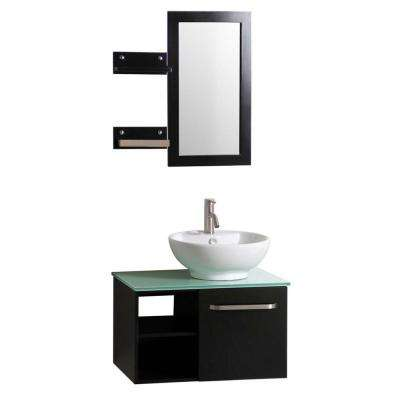 Palma 27.5 in. W x 18.5 in. D Floating Vanity in Espresso w/ Frosted Glass Top and White Basin, Side Shelves and Mirror