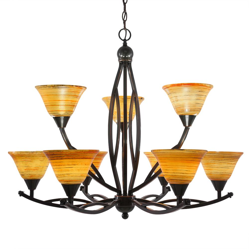Filament Design 9-Light Black Copper Chandelier with 7 in. Fire Saturn Glass