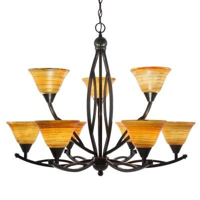 9-Light Black Copper Chandelier with 7 in. Fire Saturn Glass