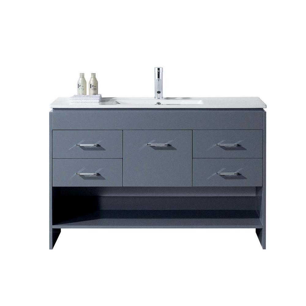 Gloria 48 in. W Bath Vanity in Gray with Ceramic Vanity Top in Slim White Ceramic with Square Basin