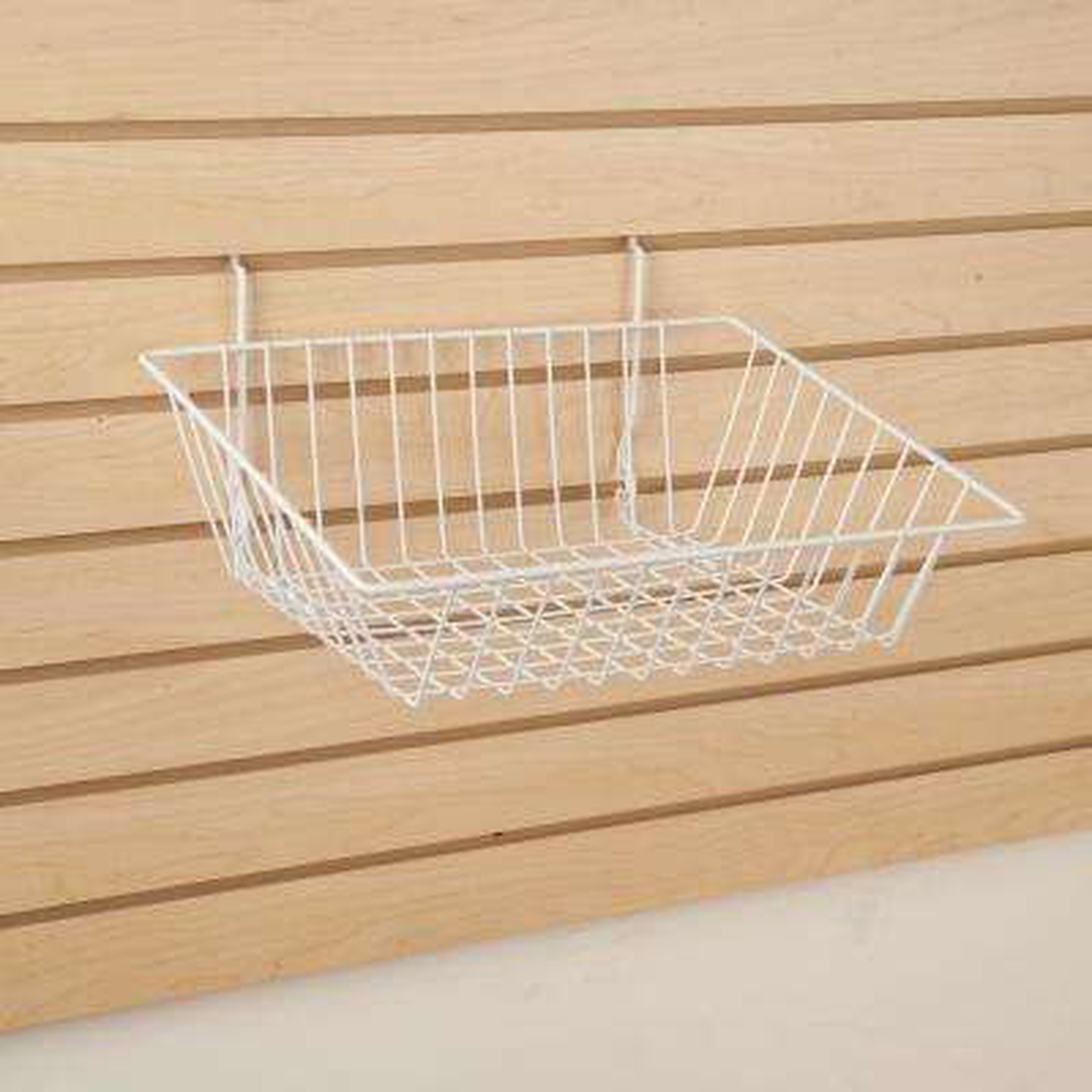 15 in. W x 12 in. D x 5 in. H White Sloping Basket