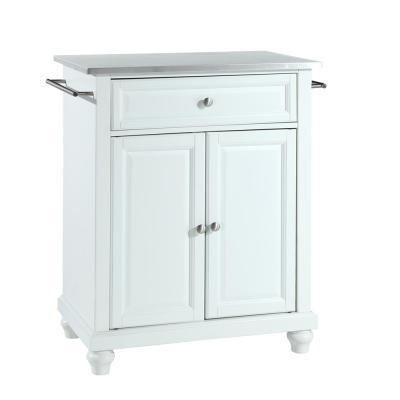 Cambridge White Portable Kitchen Island with Stainless Steel Top