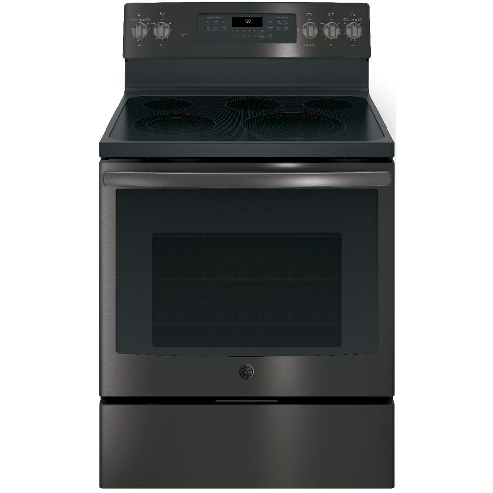 GE 5.3 cu. ft. Electric Range with Self-Cleaning Convection Oven in Black Stainless Steel, Fingerprint Resistant