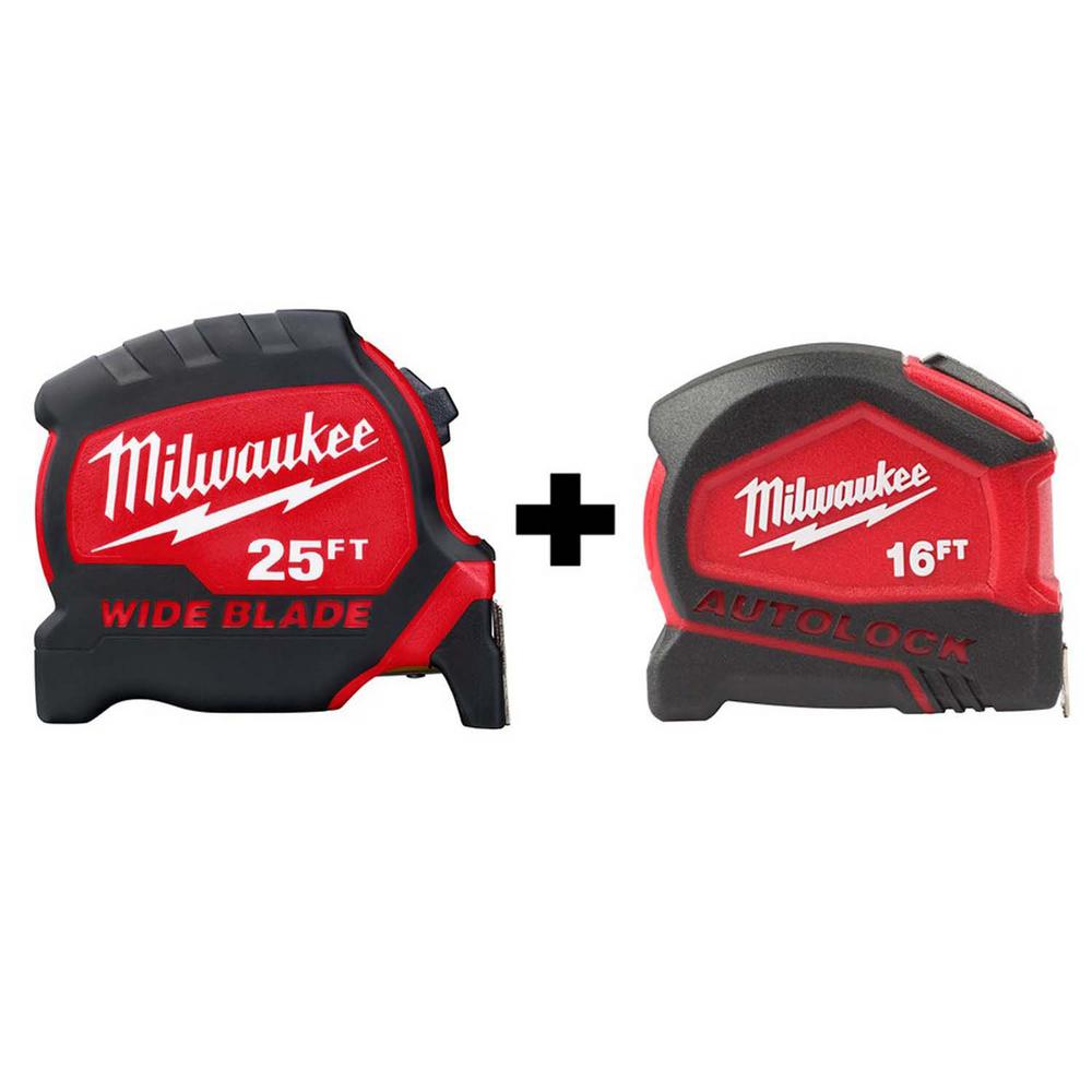 Milwaukee 25 ft. x 1.3 in. W Blade Tape Measure with 14 ft. Standout with 16 ft. Compact Auto Lock Tape Measure was $39.94 now $24.97 (37.0% off)