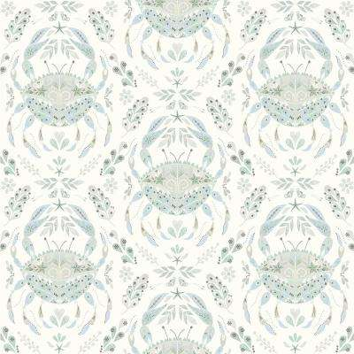 Annapolis Teal Crustacean Paper Strippable Roll (Covers 56.4 sq. ft.)