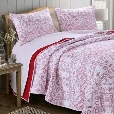 Holly, Cross Stitch 3-Piece White Full/Queen Quilt Set