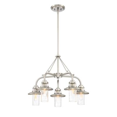Dover 5-Light Satin Platinum Chandelier with Clear Seedy Glass Shade