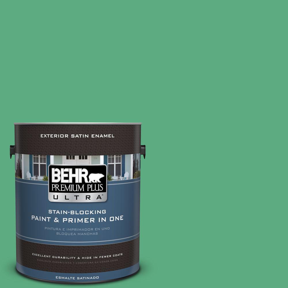 BEHR Premium Plus Ultra 1-gal. #T14-4 Edgewater Satin Enamel Exterior Paint