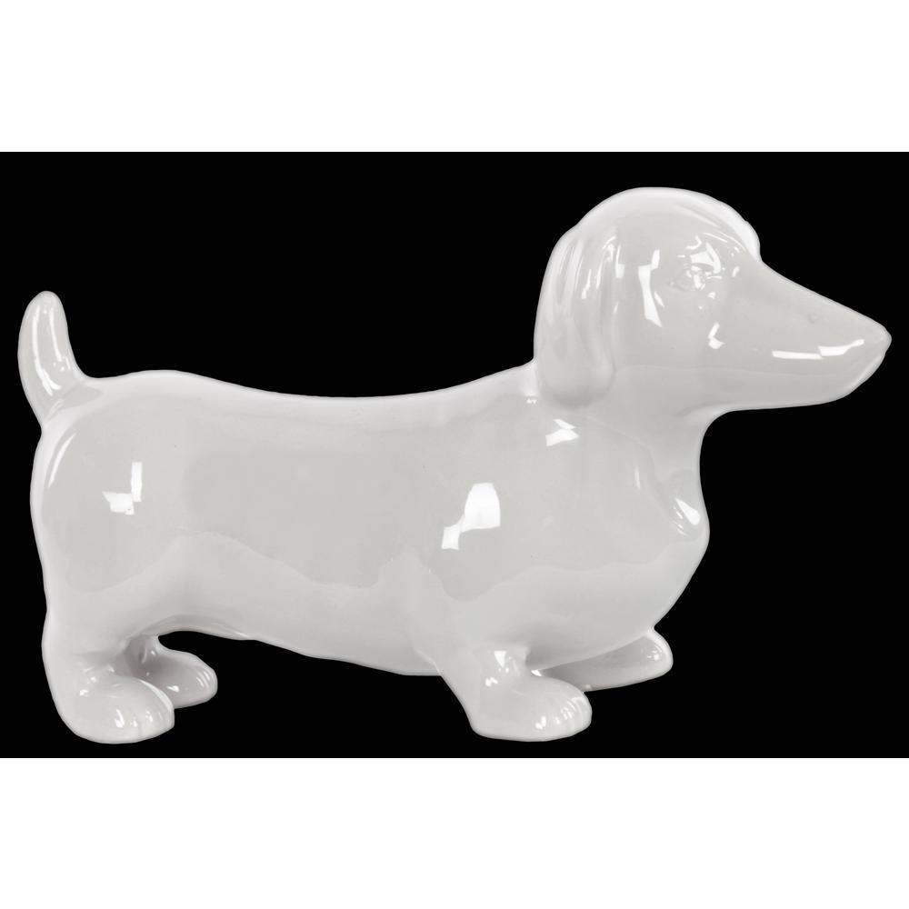 Urban Trend 6.25 in. H Dog Decorative Figurine in White G...