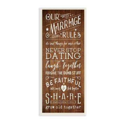 "7 in. x 17 in. ""Our Marriage Rules"" by Stephanie Workman Marrott Printed Wood Wall Art"