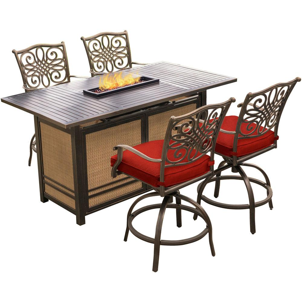 Hanover Traditions 5-Piece Aluminum Outdoor Dining Set with Red Cushions, Swivel Chairs and Fire Pit Table