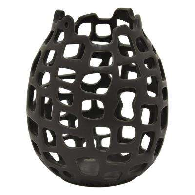 8.25 in. Black Ceramic Vase