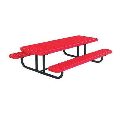 8 ft. Diamond Red Commercial Park Preschool Portable Rectangular Table