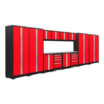 Bold 3.0 77.25 in. H x 216 in. W x 18 in. D 24-Gauge Welded Steel Stainless Steel Worktop Cabinet Set in Red (14-Piece)