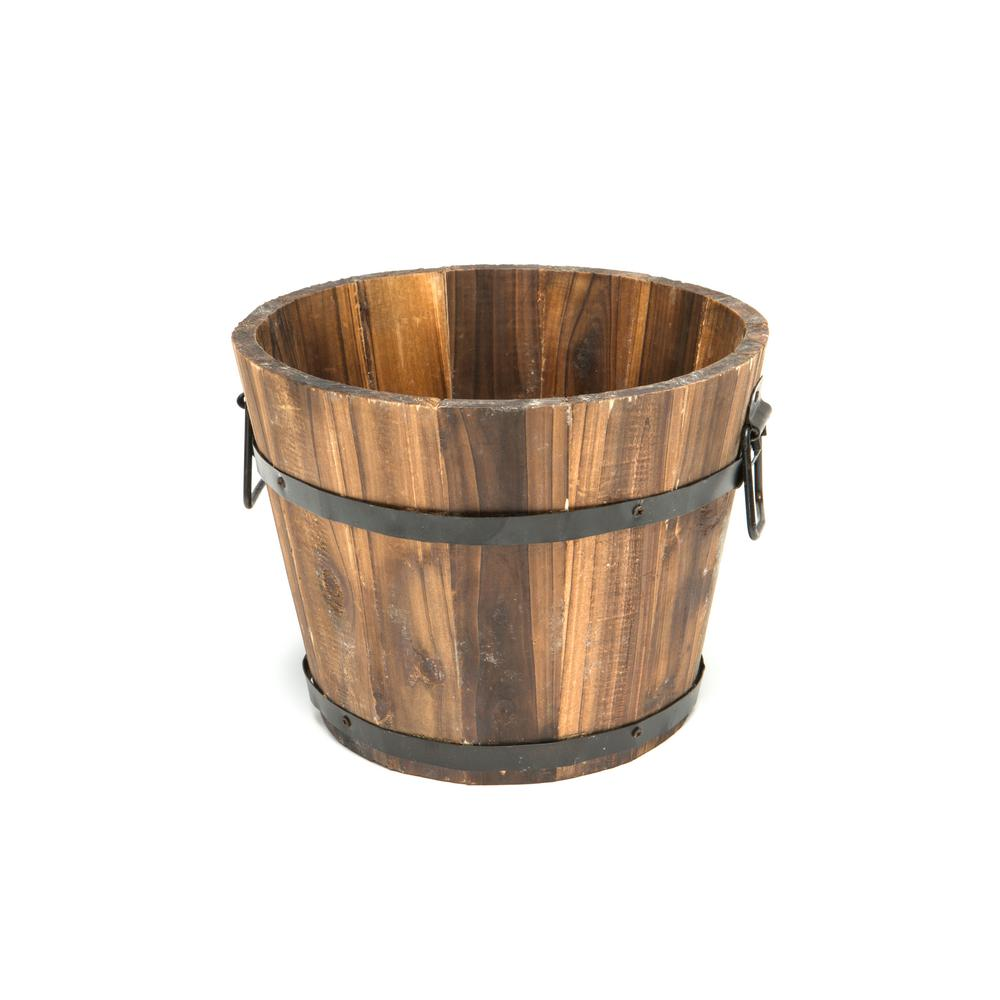 Devault Enterprises 10 in. Dia x 8 in. H Brown Cedar Wooden Small Round Planter Whiskey Barrel