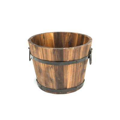 10 In Dia X 8 In H Brown Cedar Wooden Small Round Planter Whiskey Barrel