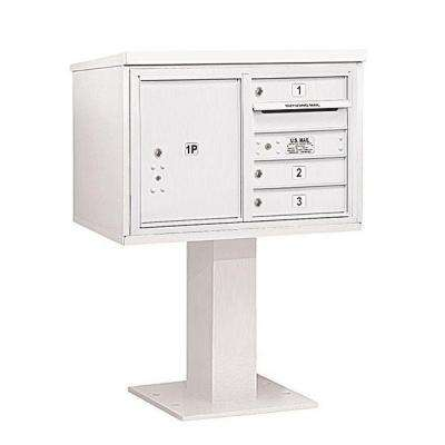 3400 Series 48-1/8 in. 5 Door High Unit White 4C Pedestal Mailbox with 3 MB1 Doors/1 PL5