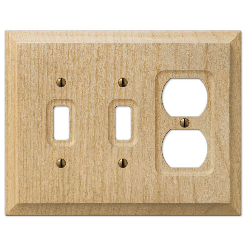Hampton Bay Baker 2 Toggle 1 Duplex Wall Plate - Unfinished Wood ...