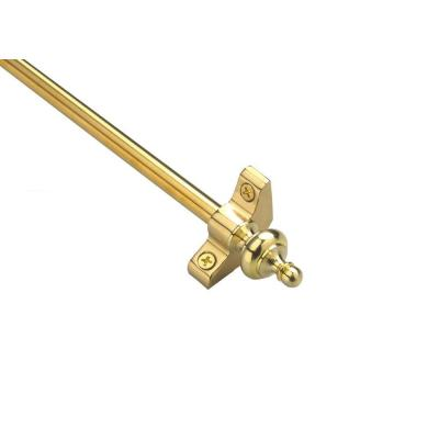 Plated Inspiration Collection Tubular 28.5 in. x 3/8 in. Polished Brass Finish Stair Rod Set with Urn Finials