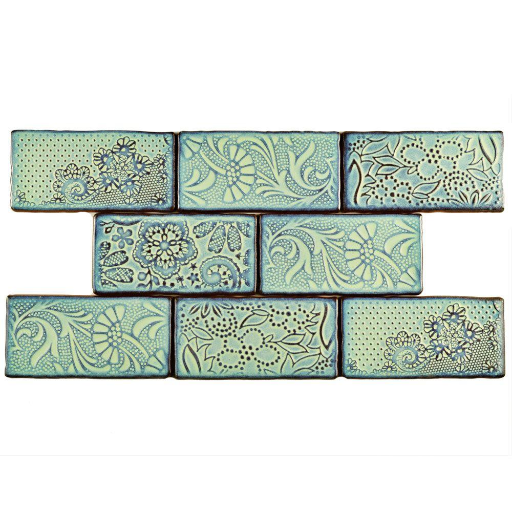Somertile Merola Tile Antic Feelings Agua Marina 3 in. x ...