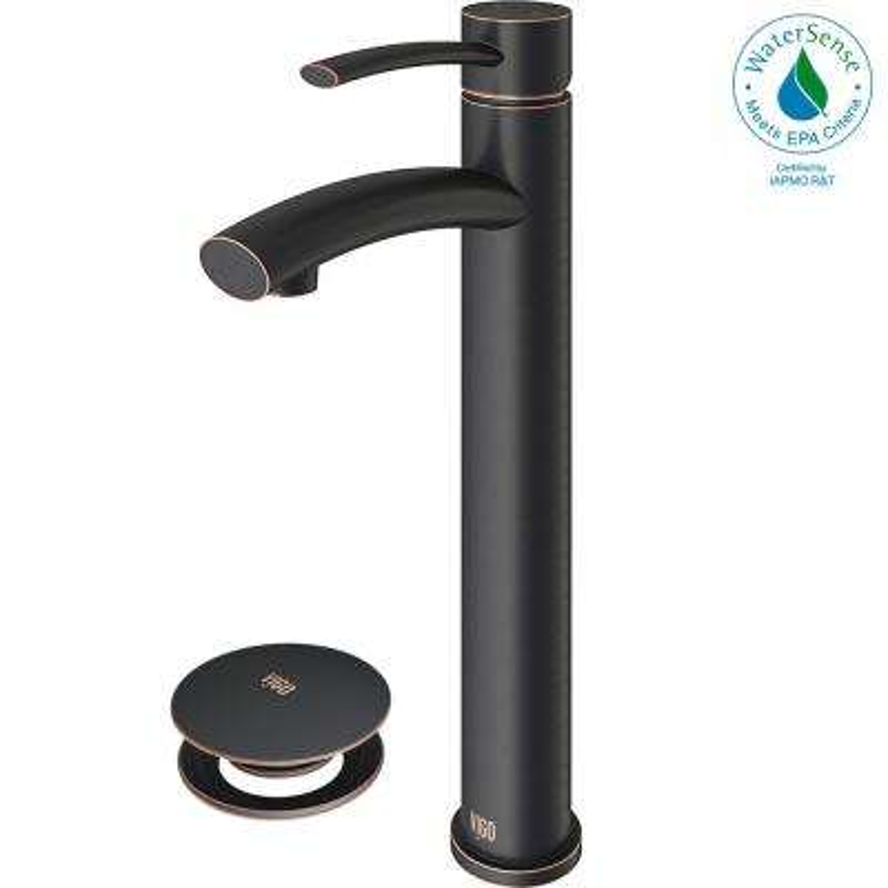Milo Single Hole Single-Handle Vessel Bathroom Faucet in Antique Rubbed Bronze with Pop-Up