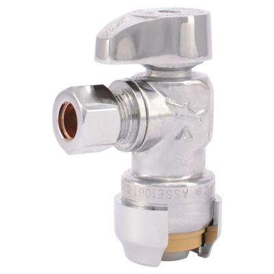 1/2 in. Chrome-Plated Brass Push-to-Connect x 3/8 in. O.D. Compression Quarter-Turn Angle Stop Valve (4-Pack)