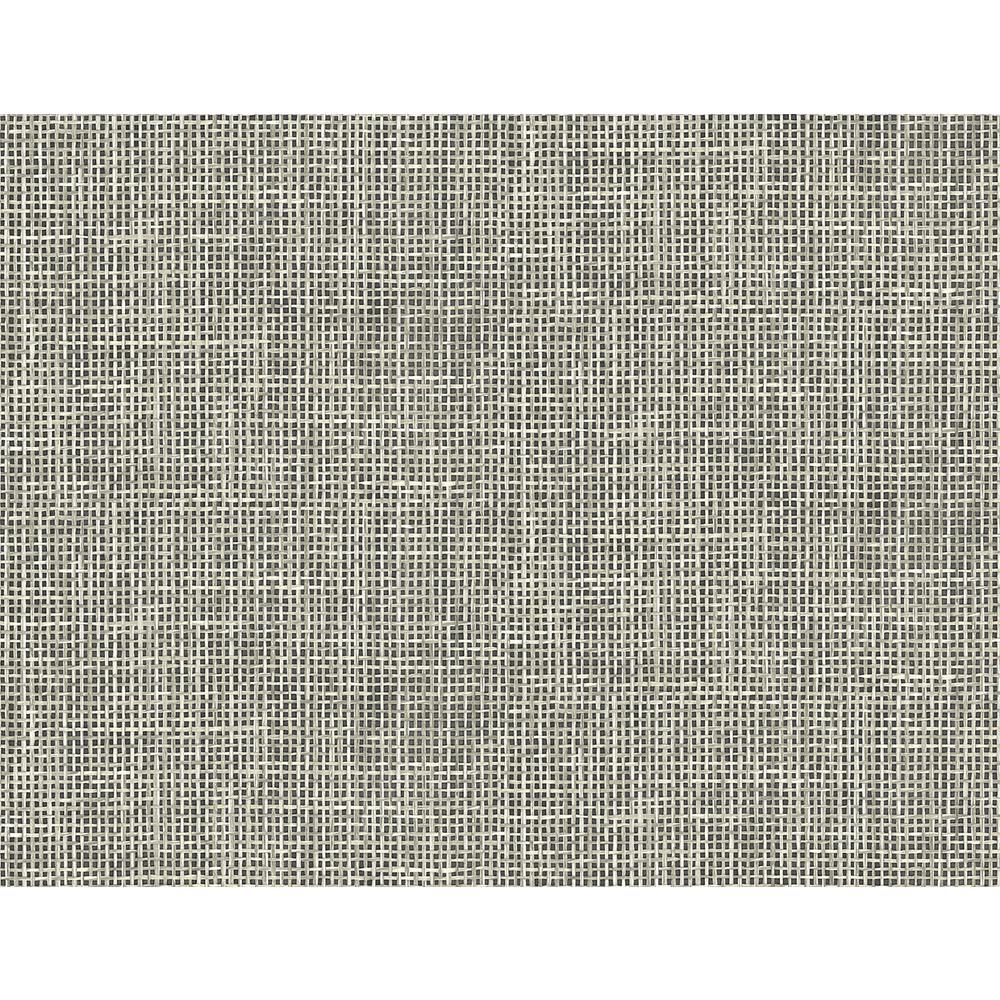 Woven Summer Charcoal Grid Wallpaper