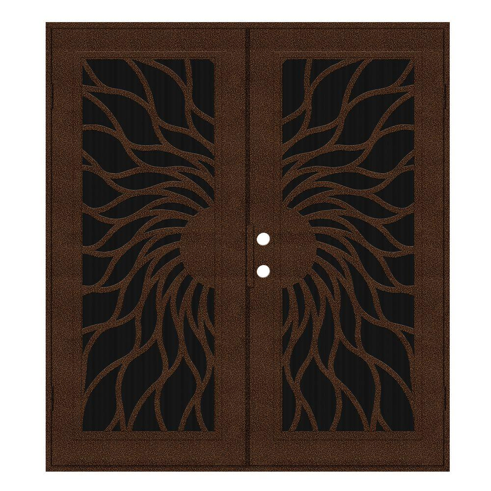 Unique Home Designs 72 in. x 80 in. Sunfire Copperclad Right-Hand Outswing Surface Mount Aluminum Security Door with Charcoal Insect Screen