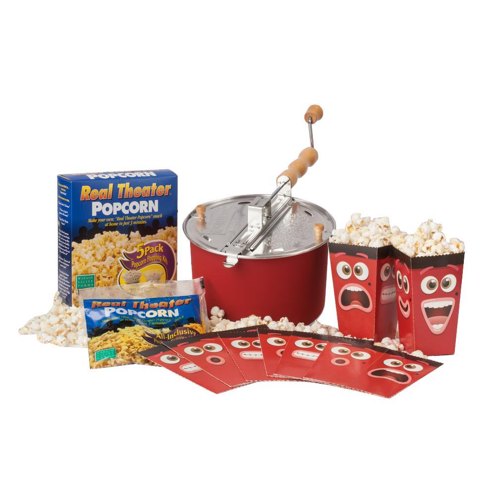 3-Piece Aluminum Red Popcorn Popper Set