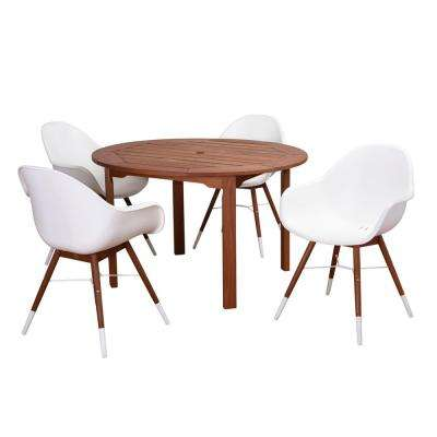 Carilo 5-Piece Eucalyptus Round Patio Dining Set