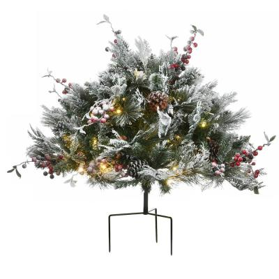 22 in. Artificial Christmas Snowy Bedford Pine Urn Filler with 50 Warm White Battery Operated LED Lights with Timer