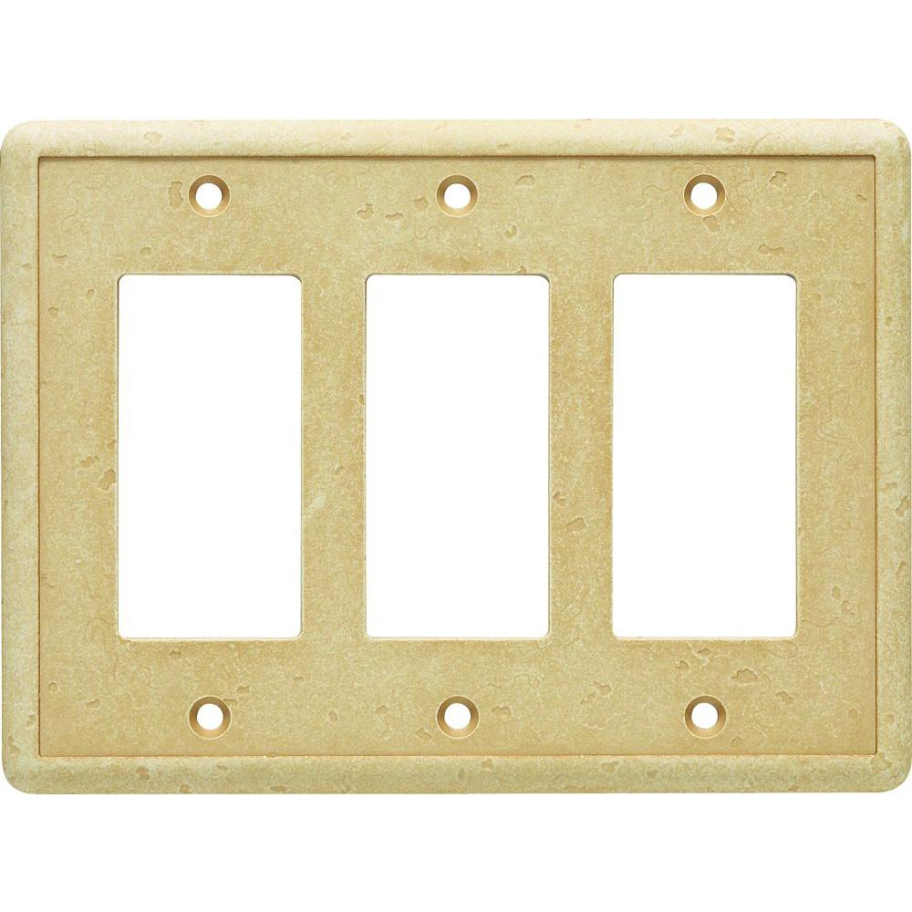 Hampton Bay 3 GFCI Cast Stone Wall Plate, Gold