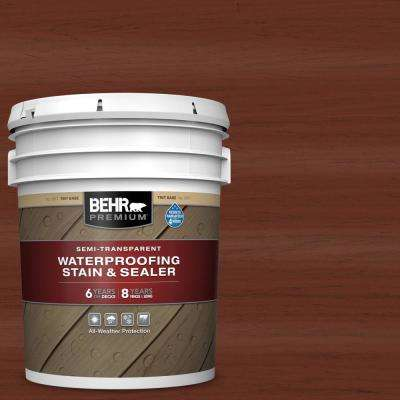 5 gal. #ST-118 Terra Cotta Semi-Transparent Waterproofing Exterior Wood Stain and Sealer