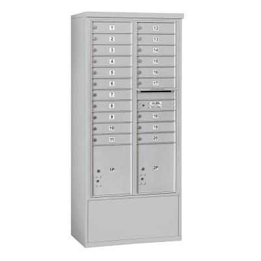 3900 Horizontal Series 20-Compartment 2-Parcel Locker Free Standing Mailbox