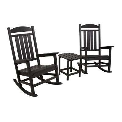 Presidential Black 3-Piece Patio Rocker Set