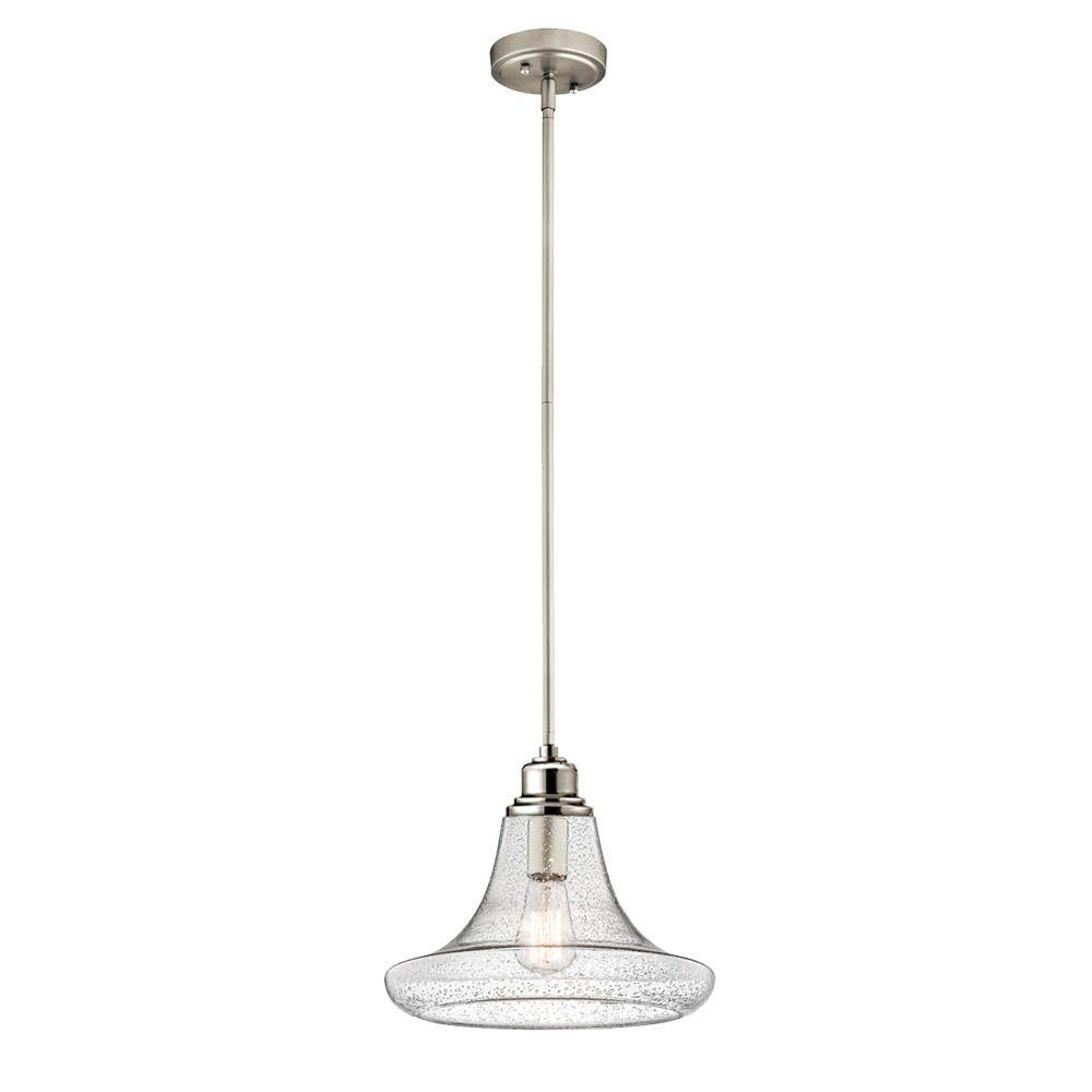 1 Light Satin Nickel Contemporary Mini Pendant With Clear Seeded Gl Shade