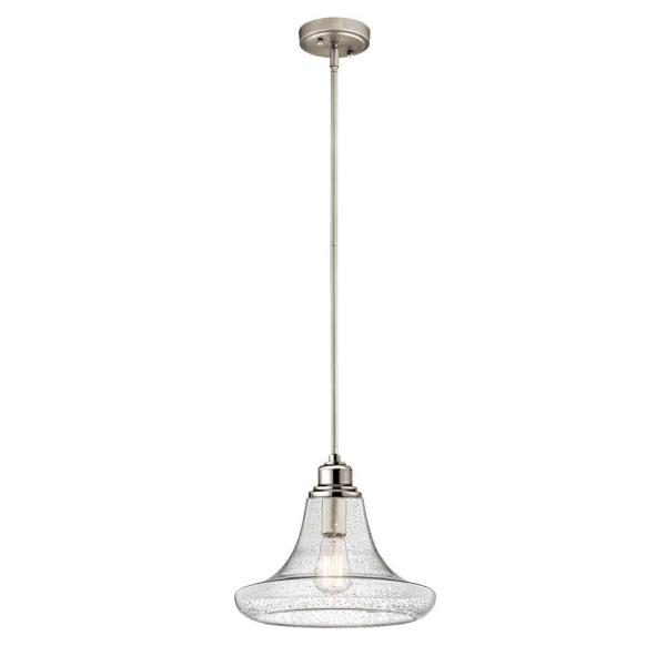 1-Light Satin Nickel Contemporary Mini Pendant with Clear Seeded Glass Shade