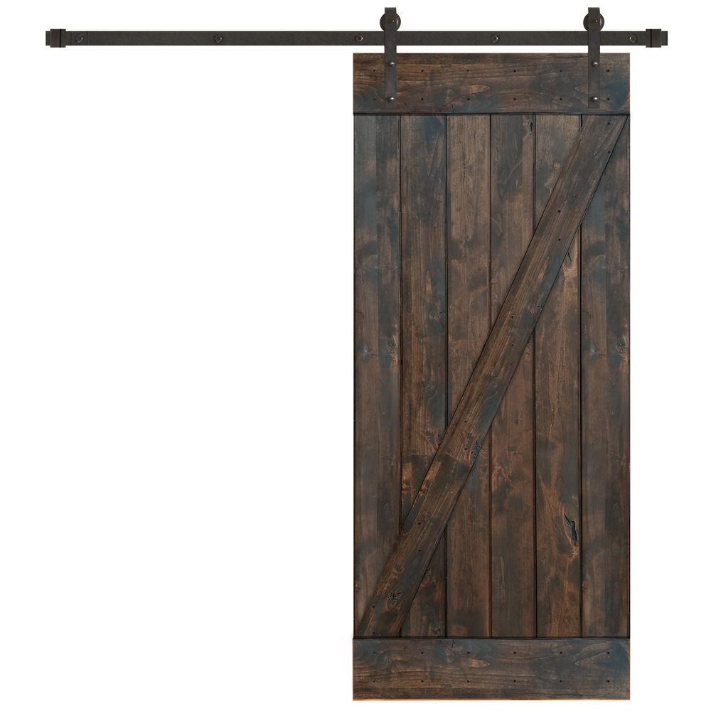 36 in. x 84 in. Rustic Espresso Plank Knotty Alder Barn Door Kit with Oil Rubbed Bronze Sliding Door Hardware Kit