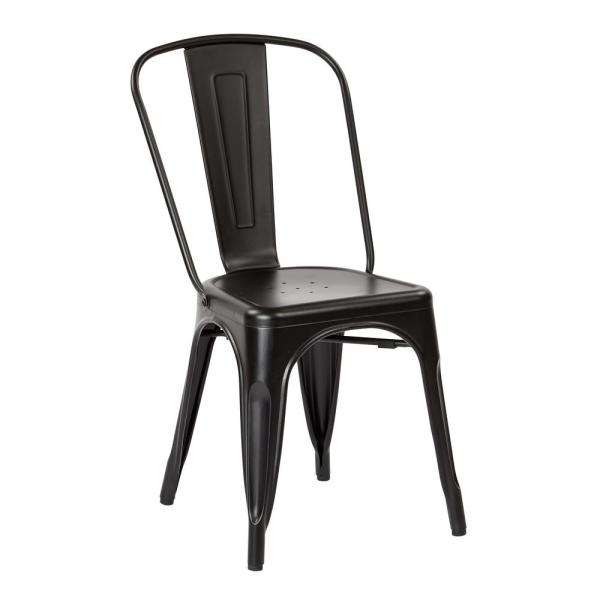 Office Star Products Bristow Matte Black Armless Metal Chair (4-Pack)