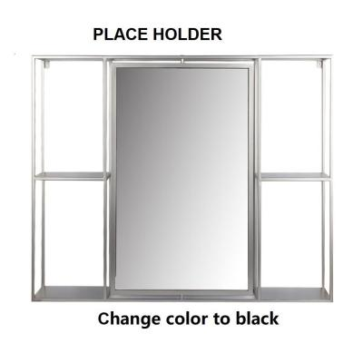 30 in. Black Decorative Mirror With Shelves