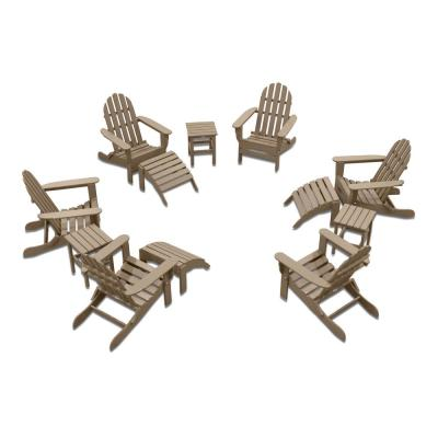 Icon Weathered Wood 12-Piece Plastic Adirondack Patio Conversation Set