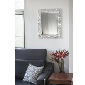 Blue Harbor Collection 25.25 inch x 21.25 inch Silver Mosaic Beveled Pattern Wall Mirror by Blue Harbor Collection