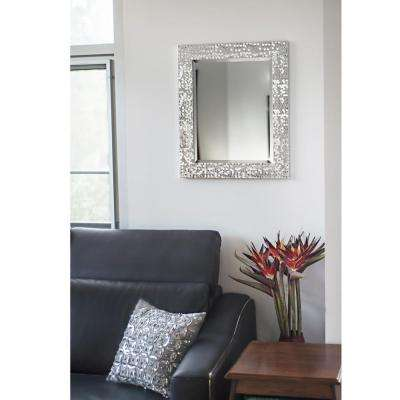 25.25 in. x 21.25 in. Silver Mosaic Beveled Pattern Wall Mirror