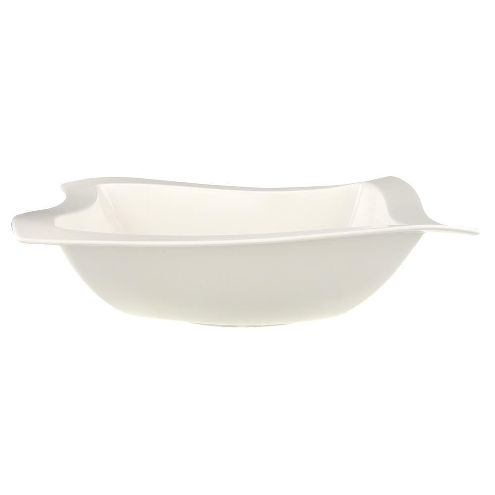 New Wave White Porcelain 13 in. Square Salad Bowl