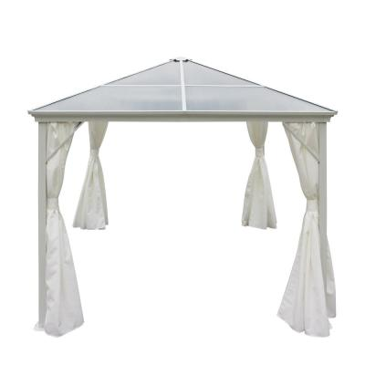 9.83 ft. x 9.83 ft. White Aluminum Canopy Gazebo with Water-Resistant Fabric Curtains