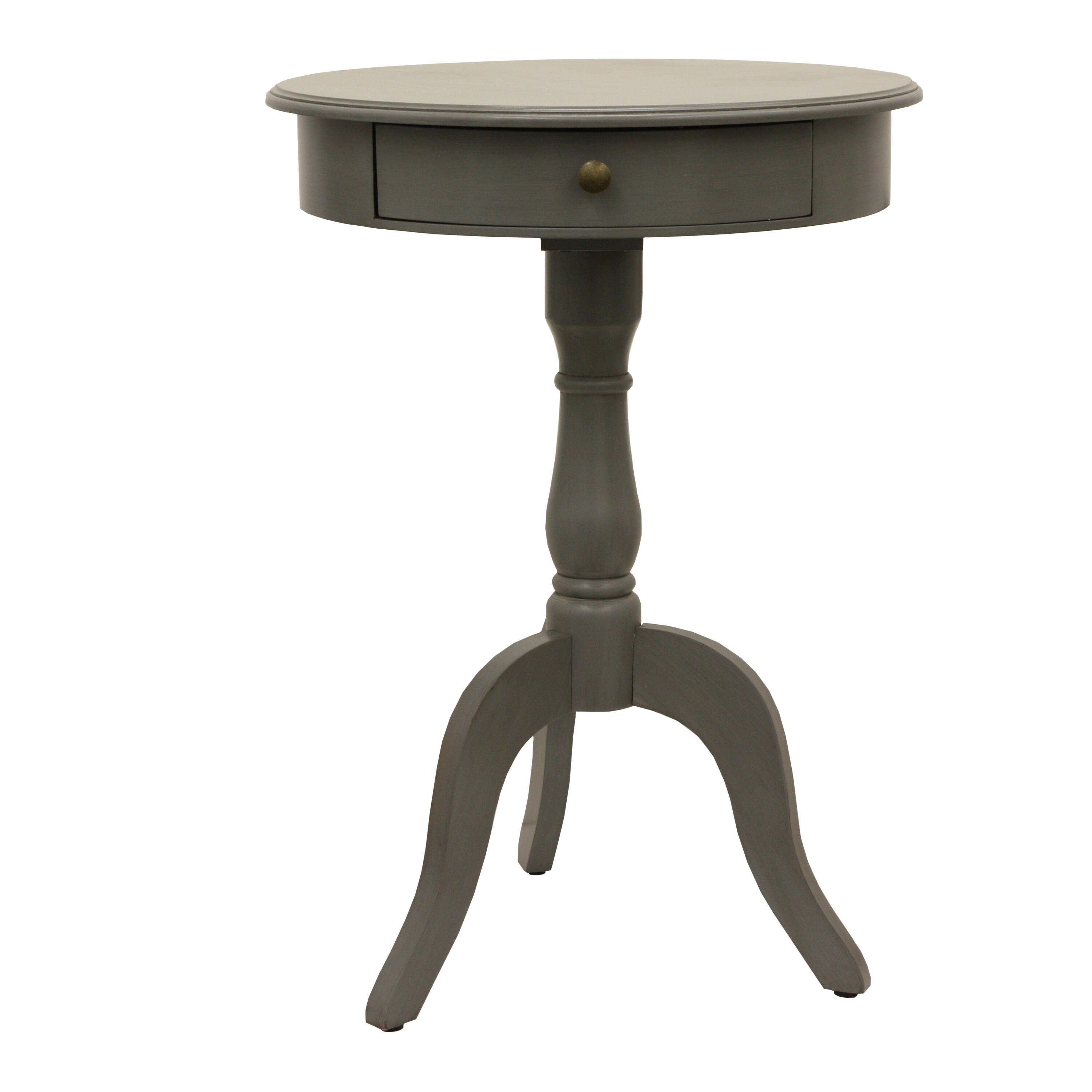 Decor Therapy Pedestal Eased Edge Gray End Table With Drawer